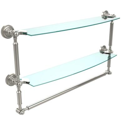 Dottingham 24 in. L  x 15 in. H  x 5 in. W 2-Tier Clear Glass Bathroom Shelf with Towel Bar in Polished Nickel