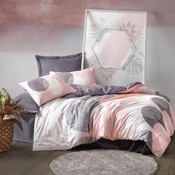 Pink Queen Size Duvet Cover 1, Pink Grey And Mint Bedding