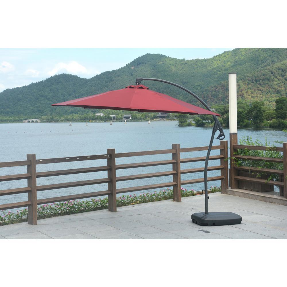 Lucy 10 ft. Coated Steel Cantilever Tilt Patio Umbrella in Red