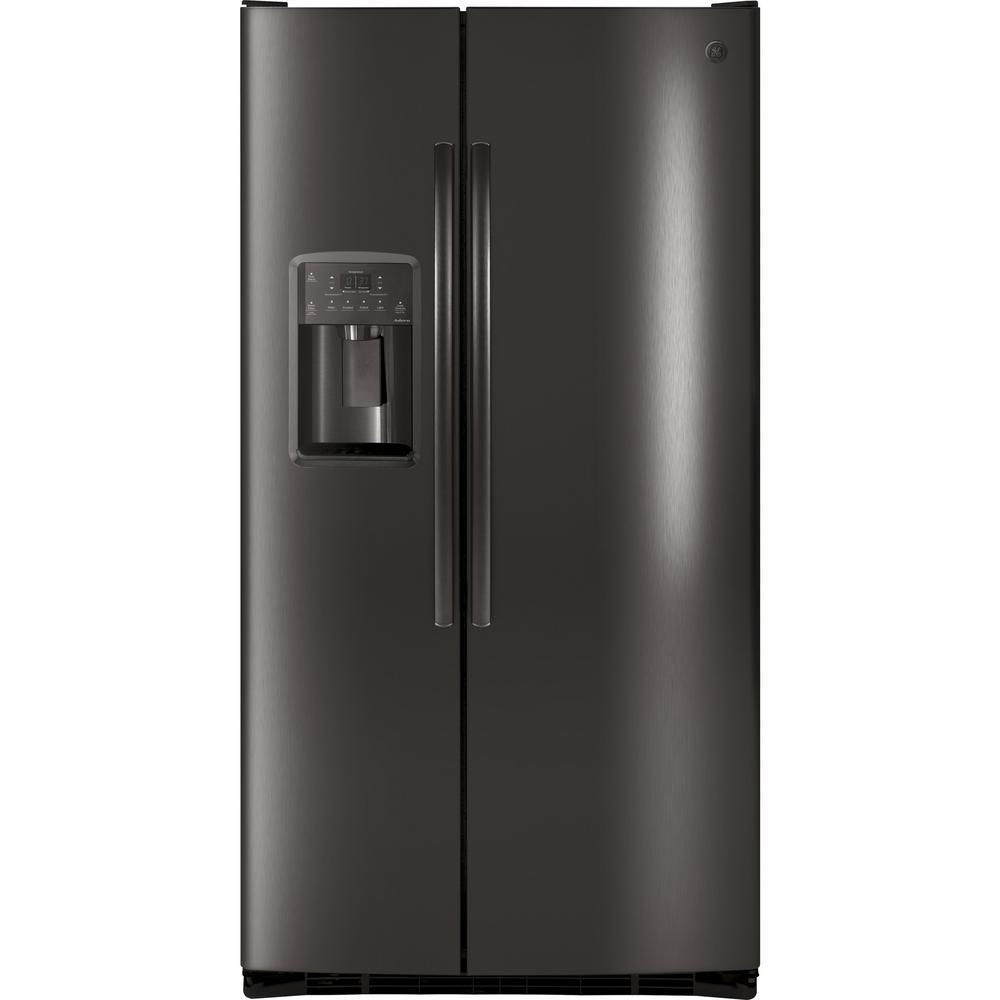 ge adora 25 3 cu ft side by side refrigerator in black stainless steel fingerprint resistant. Black Bedroom Furniture Sets. Home Design Ideas