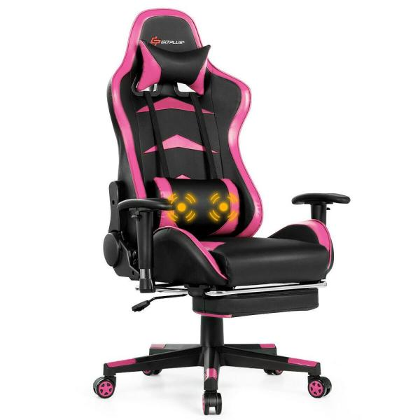 Pink Gaming Chair Reclining Swivel Racing Office Chair with Footrest