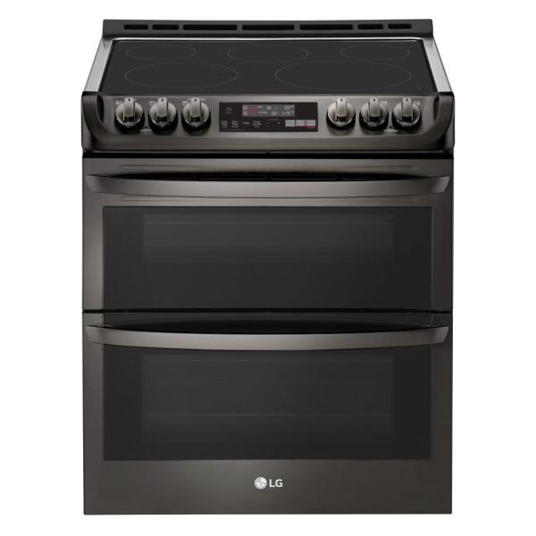 7.3 cu. ft. Smart Double Oven Electric Range, Self-Cleaning, Convection and Wi-Fi Enabled in Black Stainless Steel