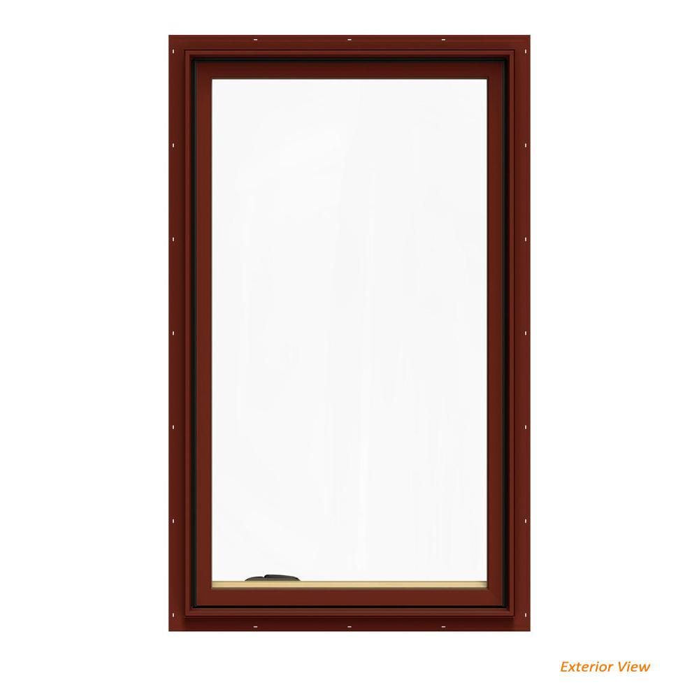 JELD-WEN 28.75 in. x 48.75 in. W-2500 Series Red Painted Clad Wood Left-Handed Casement Window with BetterVue Mesh Screen