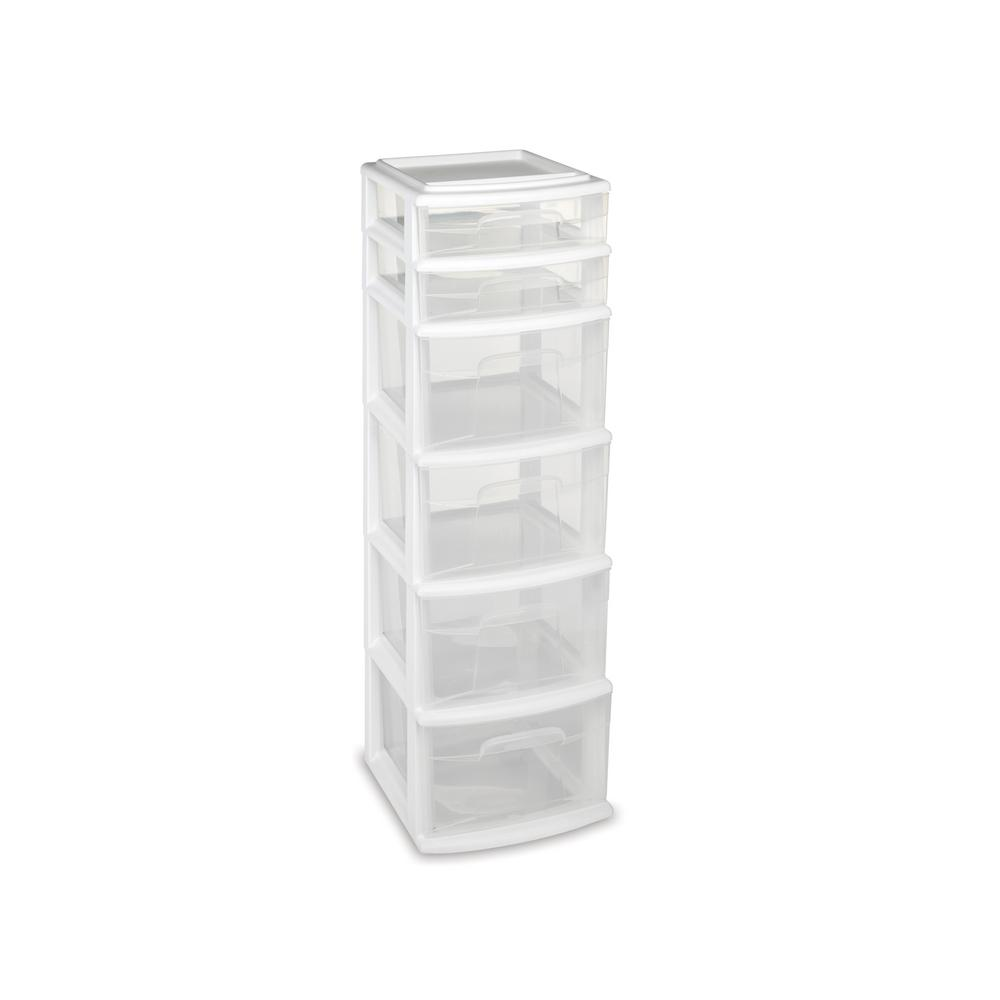 Storage Cart With 6 Drawers In White