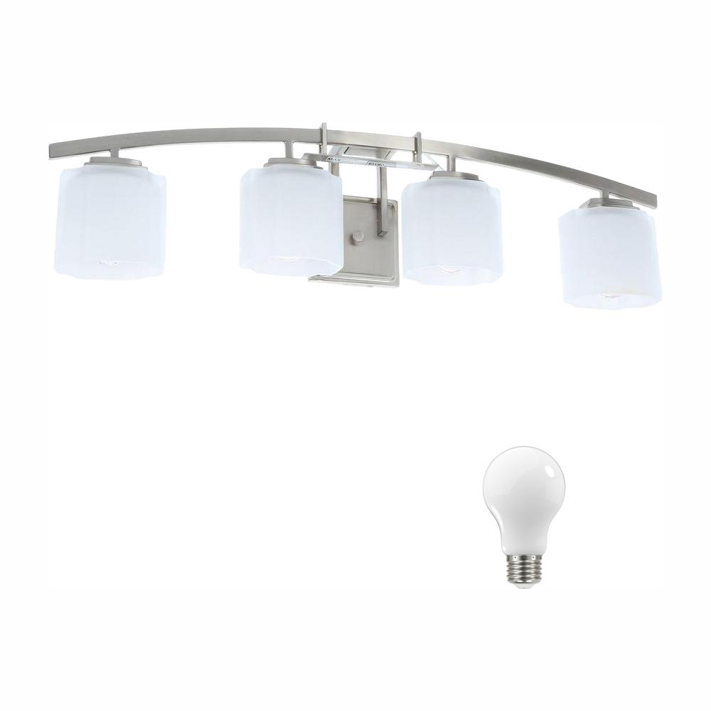 Hampton Bay Architecture 4-Light Brushed Nickel Vanity Light with Etched White Glass Shades, Dimmable LED Soft White Bulbs Included