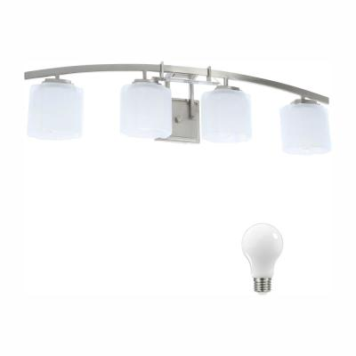 Architecture 4-Light Brushed Nickel Vanity Light with Etched White Glass Shades, Dimmable LED Soft White Bulbs Included