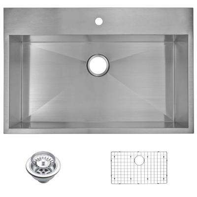 Drop-In Zero Radius Stainless Steel 33 in. 1-Hole Single Bowl Kitchen Sink with Strainer and Grid in Satin