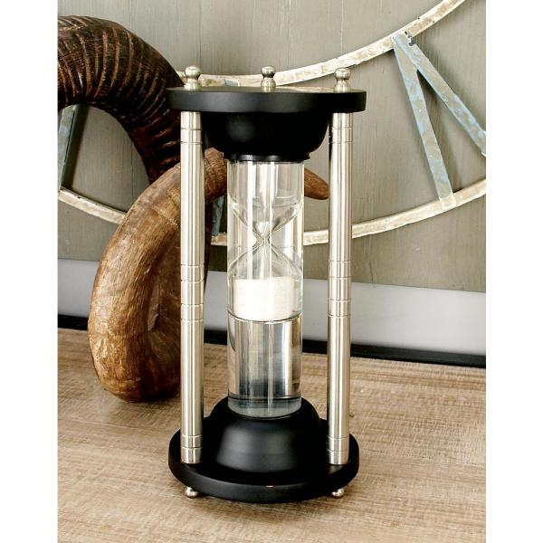 Litton Lane 4 in. x 9 in. Cherrywood Brown Mango Wood, Silver Aluminum and Clear Glass Floating Sandtimer