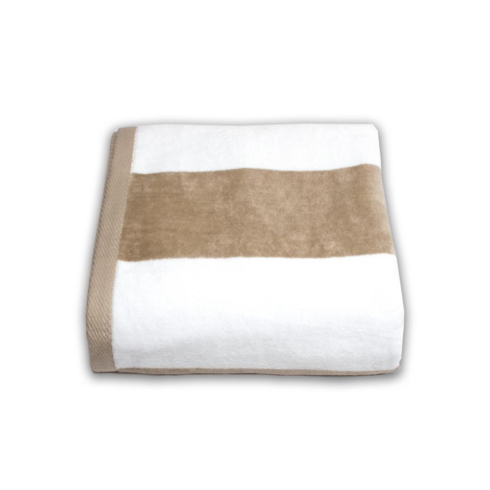Tropical Cabana 100% Cotton Beach Towel in Sand