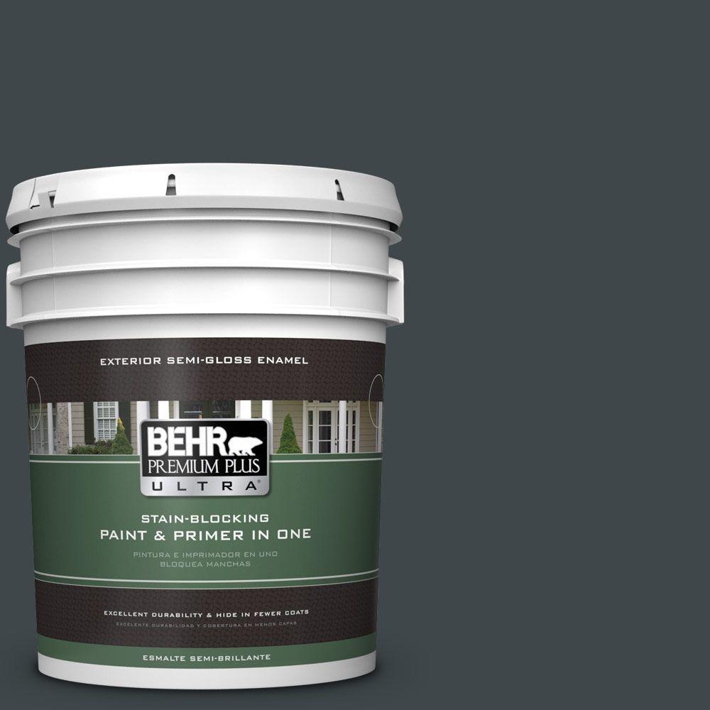 5-gal. #730F-7 Black Sable Semi-Gloss Enamel Exterior Paint