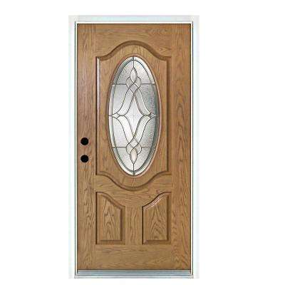 36 in. x 80 in. Distinction Light Oak Right-Hand Inswing 3/4 Oval Lite Decorative Fiberglass Prehung Front Door