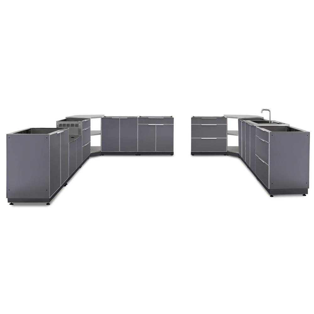 NewAge Products Slate Gray 11-Piece 448 in. W x 36.5 in. H x 24 in. D  Outdoor Kitchen Cabinet Set