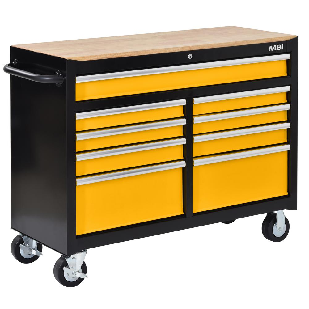 46 in. 9-Drawer Solid Front Mobile Workcenter in Yellow/Black