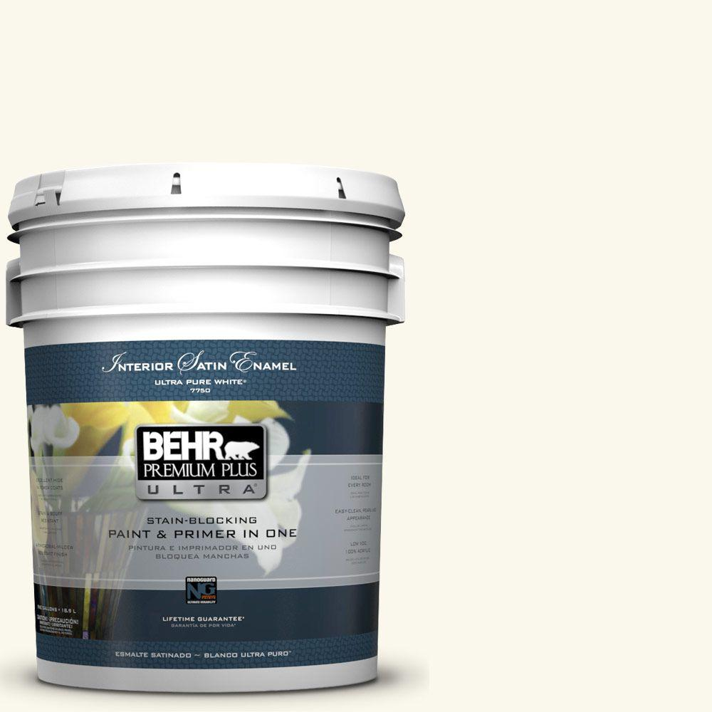 5-gal. #BXC-29 Stately White Satin Enamel Interior Paint