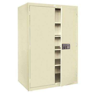 78 in. H x 48 in.W x 24 in. D 5-Shelf Steel Quick Assembly Keyless Electronic Coded Storage Cabinet in Putty