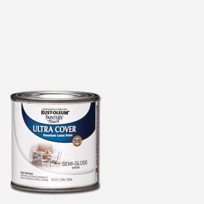 8 oz. Ultra Cover Semi-Gloss White General Purpose Paint