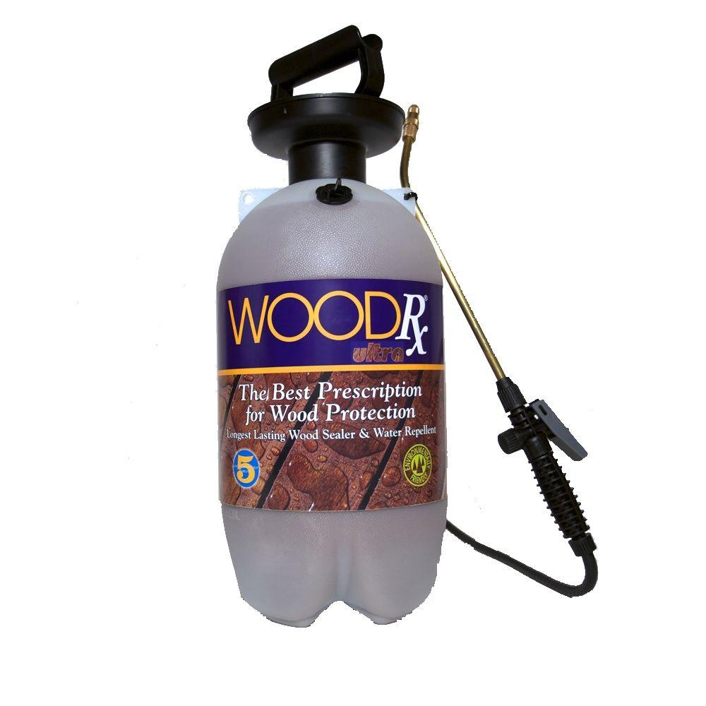 WoodRx 2 gal. Ultra Redwood Transparent Wood Stain/Sealer with Pump Sprayer/Fan Tip