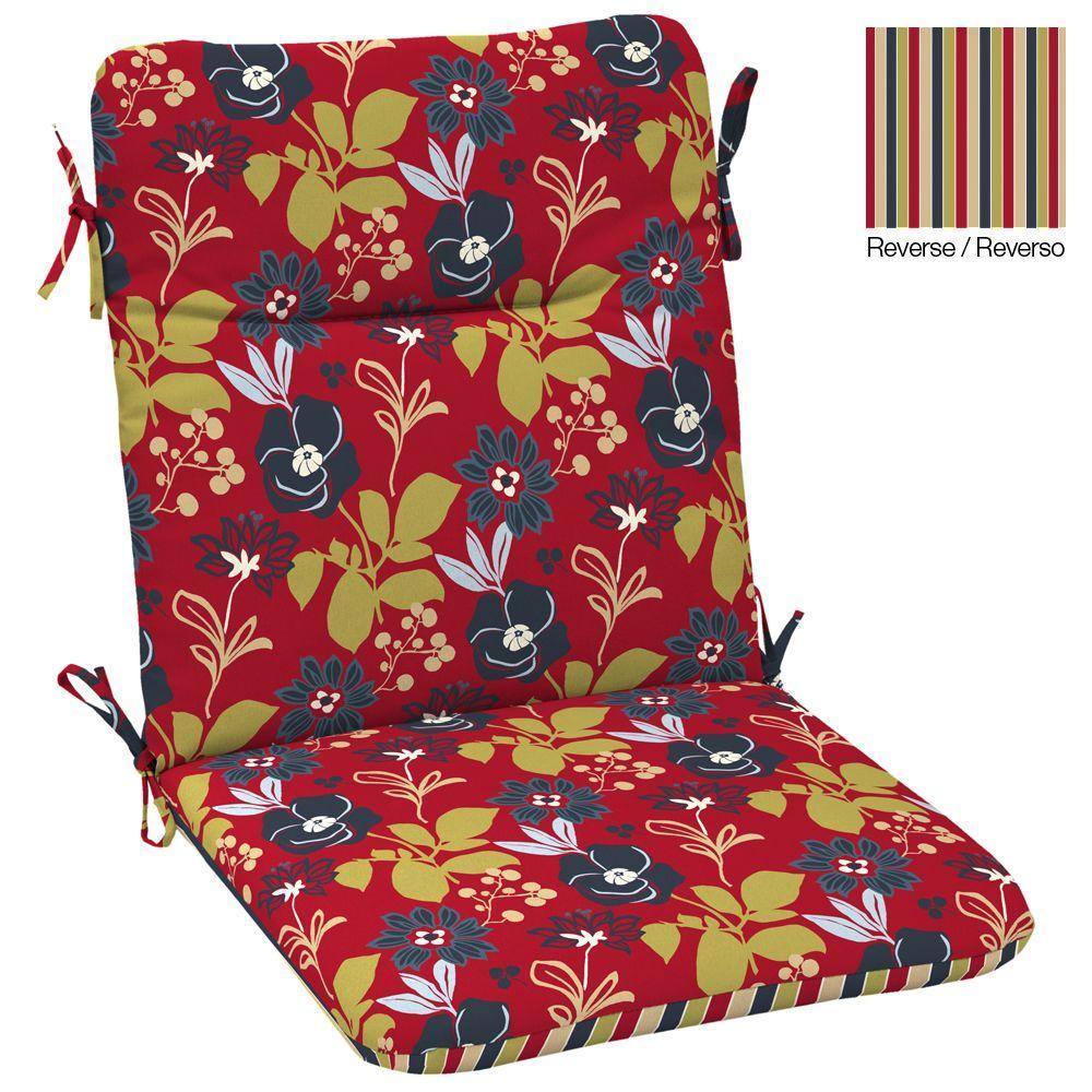 Hampton Bay Reversible Petite Modern Floral High Back Outdoor Chair Cushion