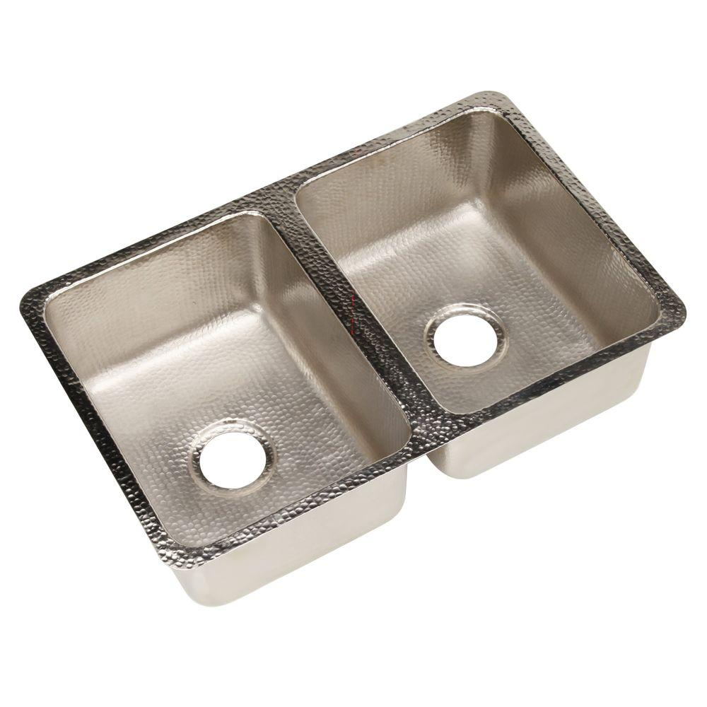 SINKOLOGY Da Vinci Undermount Handcrafted 31 in. Double Basin Kitchen Sink in Hammered Nickel