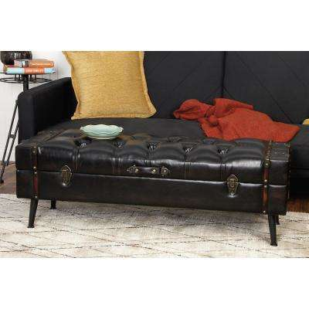 Black Faux Leather Storage Trunks (Set of 2)