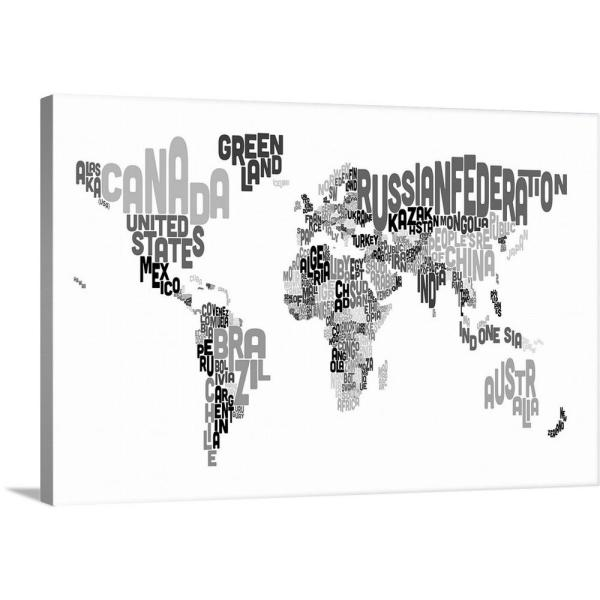Greatbigcanvas Country Names World Map Black And White By