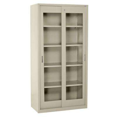 72 in. H x 36 in. W x 18 in. D Freestanding Clear View Sliding Door Steel Cabinet in Putty