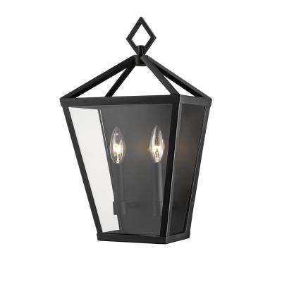 2-Light 18 in. Tall Powder Coated Black Outdoor Wall Sconce