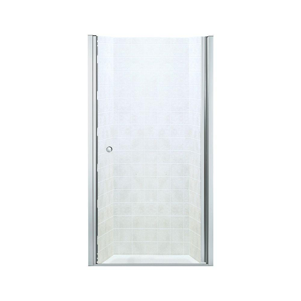 STERLING Finesse 37-3/4 in. x 65-1/2 in. Semi-Frameless Pivot Shower Door in Silver with Clear Glass Texture