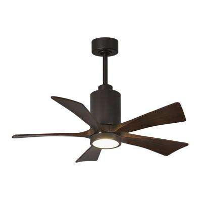 Patricia 42 in. LED Indoor/Outdoor Damp Textured Bronze Ceiling Fan with Remote Control, Wall Control