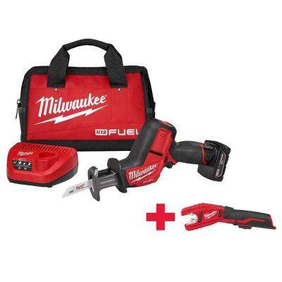 M12 FUEL 12-Volt Lithium-Ion Cordless HACKZALL Reciprocating Saw Kit with Free M12 Copper Tubbing Cutter
