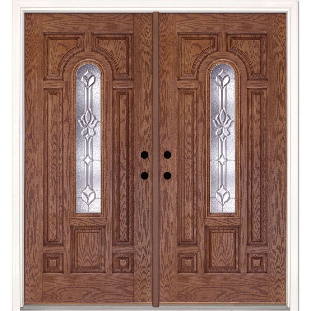 Feather river doors 74 in x in medina zinc center for Home depot fiberglass entry doors