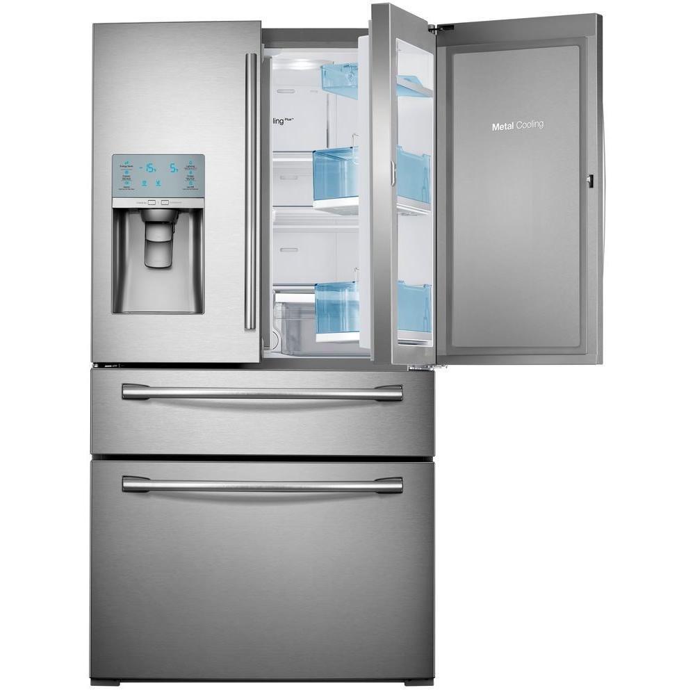 Samsung 29.5 cu. ft. Food Showcase 4-Door French Door Refrigerator in Stainless Steel