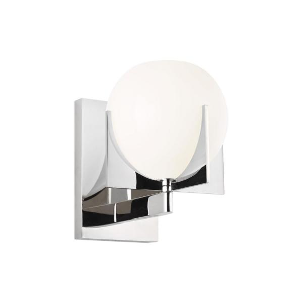 Abbott 4.5 in. Polished Nickel Sconce with Round Milk Glass Shade