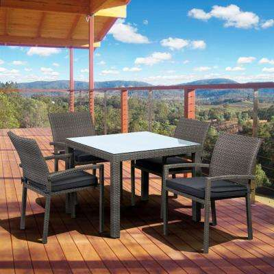 Liberty Gray 5-Piece Square Patio Dining Set with Gray Cushion