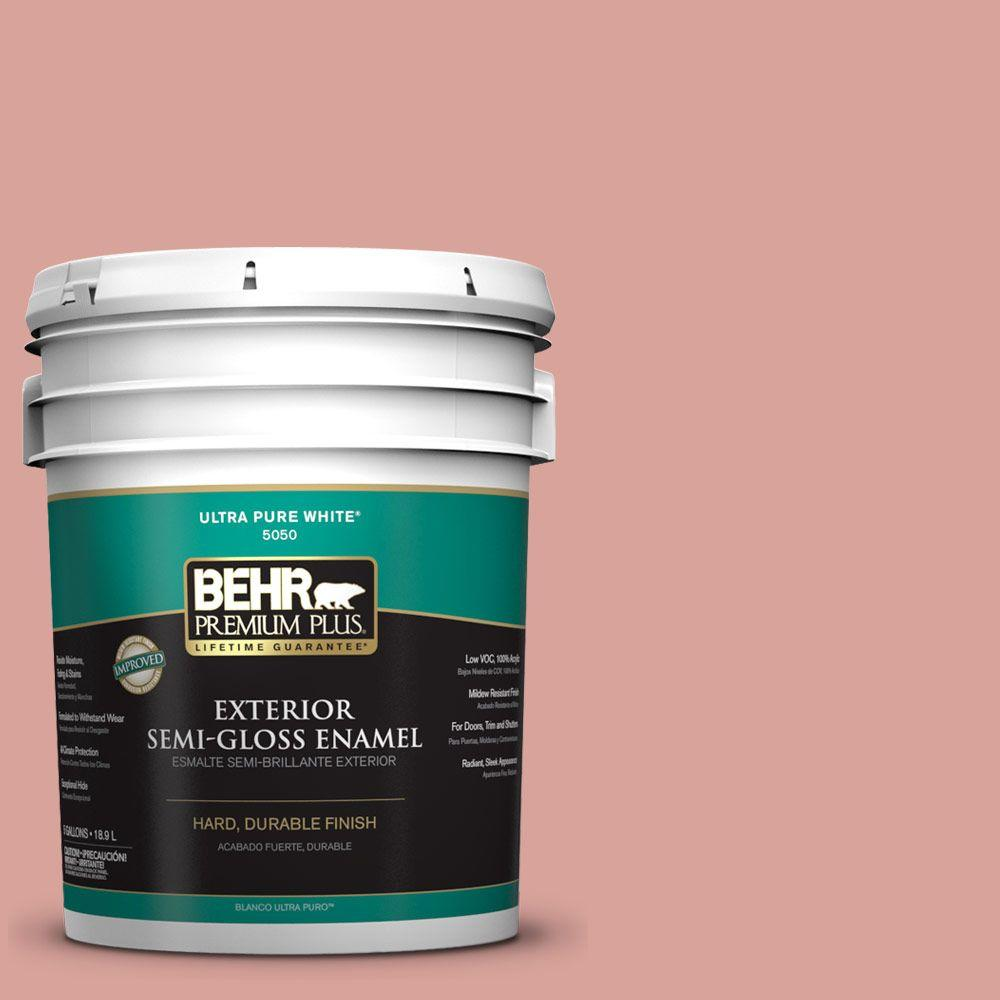 BEHR Premium Plus 5-gal. #PMD-70 Cottage Rose Semi-Gloss Enamel Exterior Paint