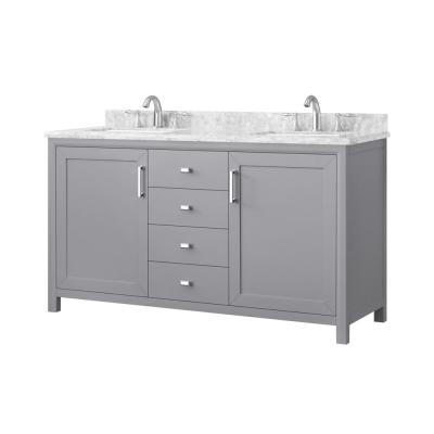 Rockleigh 60 in. W x 22 in. D Bath Vanity in Pebble Grey with Marble Vanity Top in Carrara White with White Basin