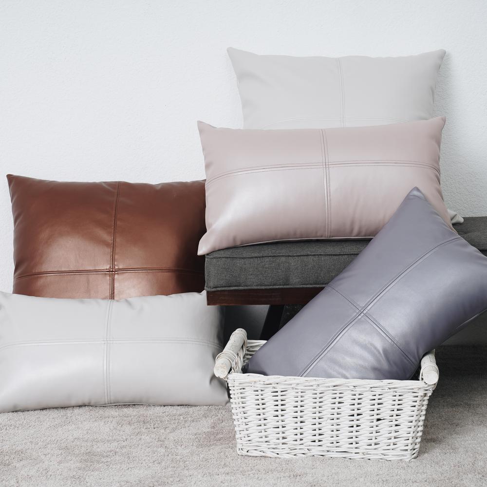Freshmint Vegan Leather Patchwork Throw Pillow 202005c33 The Home Depot