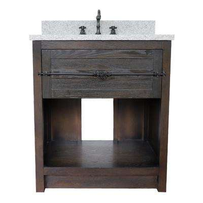 Plantation II 31 in. W x 22 in. D Bath Vanity in Brown with Granite Vanity Top in Gray with White Rectangle Basin