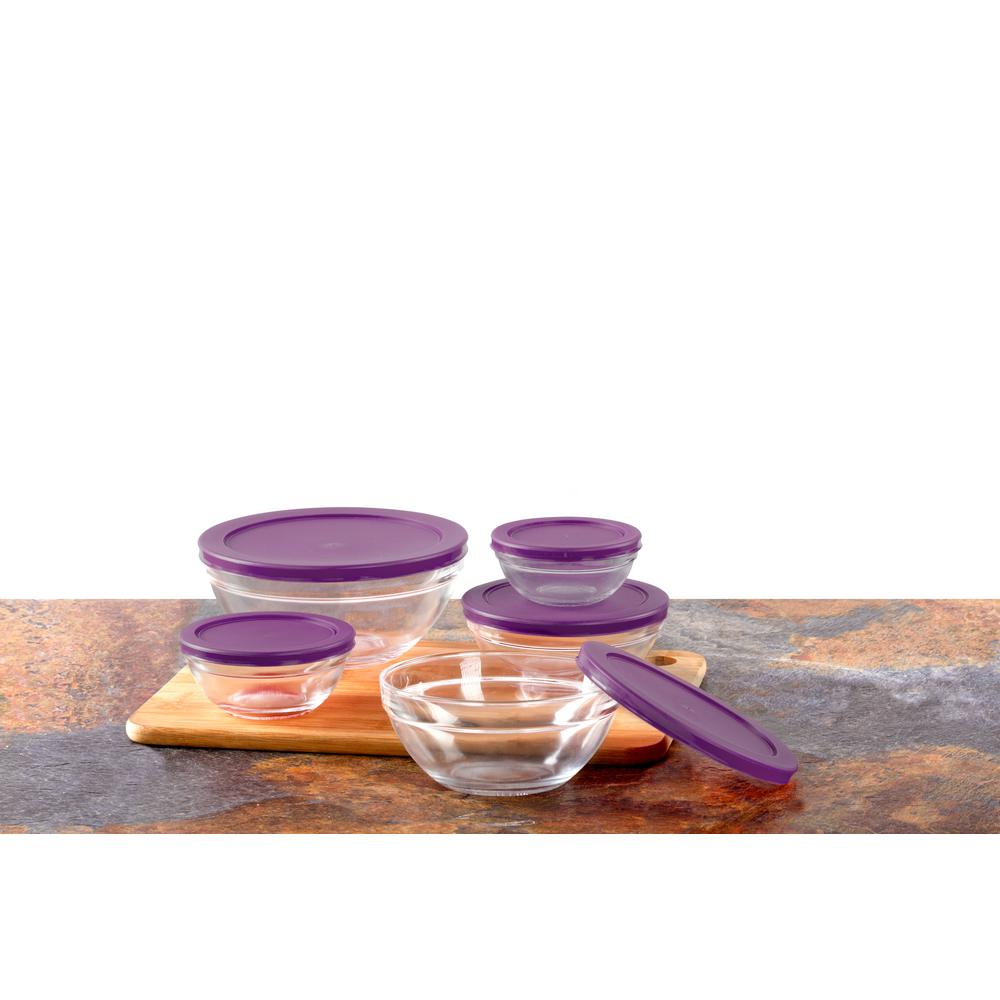 imperial home 10 piece glass food storage bowls with purple lids mw3465 the home depot. Black Bedroom Furniture Sets. Home Design Ideas