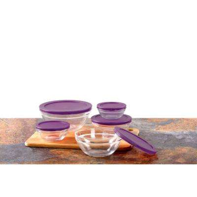 10-Piece Glass Food Storage Bowls with Purple Lids