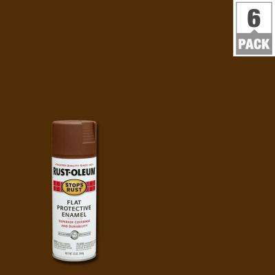 12 oz. Protective Enamel Flat Brown Spray Paint (6-Pack)