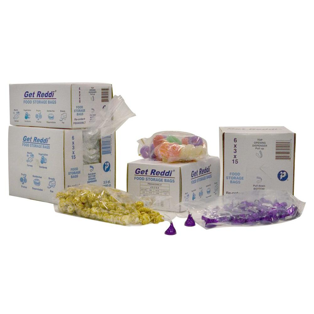Inteplast Get Reddi Food and Poly Bag, Clear, 2 qt., 6 in.x 3 in. x 12 in., 0.68 Mil, 1000 Per Case