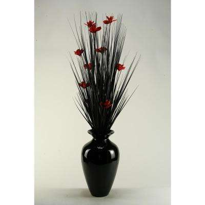 Indoor Black Ting with Red Blossoms in Black Spun Bamboo Vase