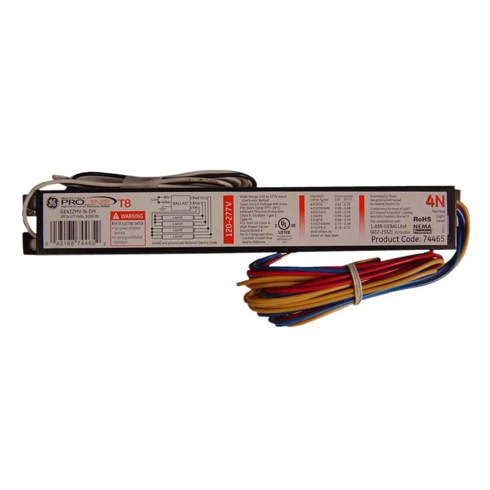 accessories ge432max g n diyb 64_1000 120 to 277 volt electronic ballast for 4 ft 4 lamp t8 fixture  at n-0.co