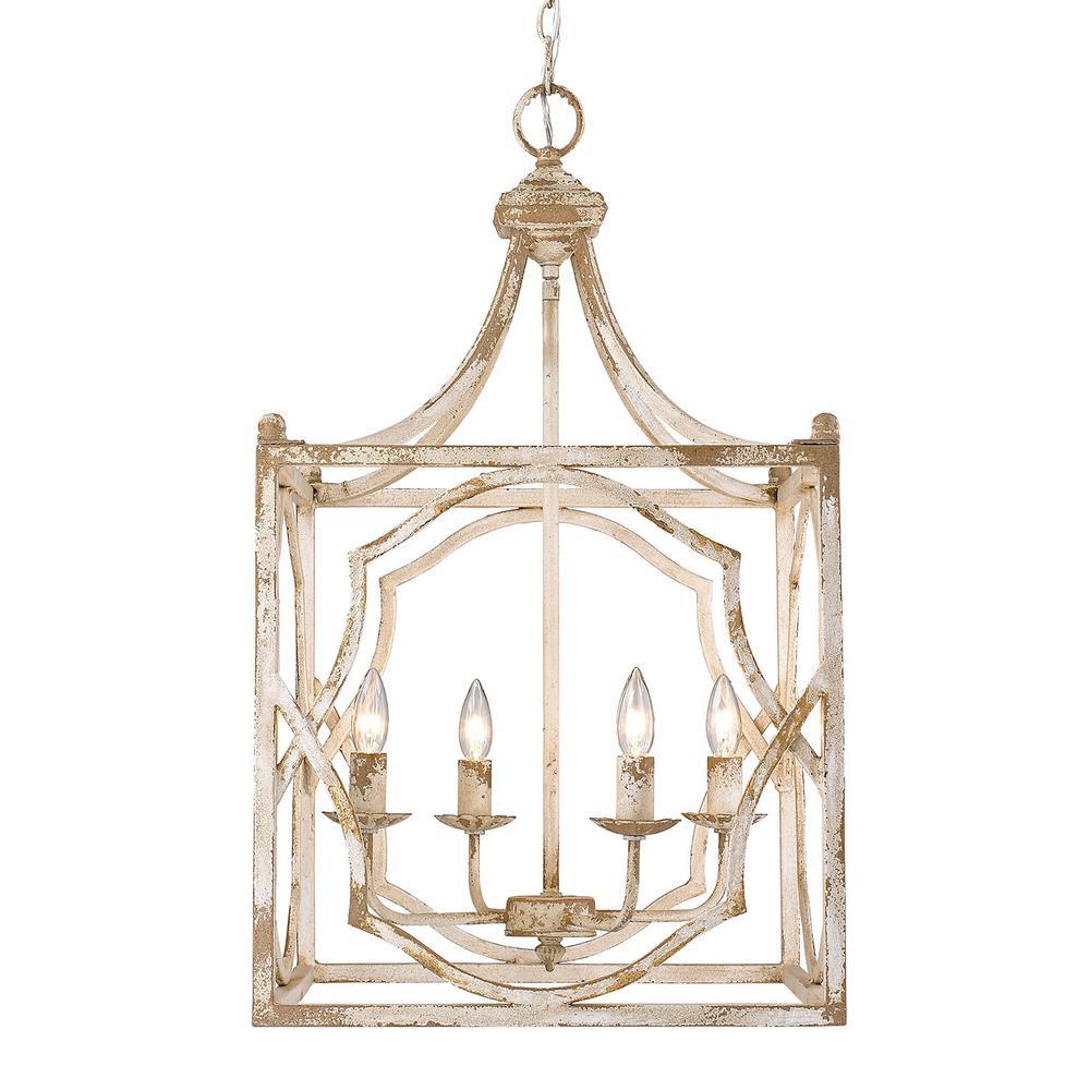Golden Lighting Lau Collection 4 Light Antique Ivory Pendant