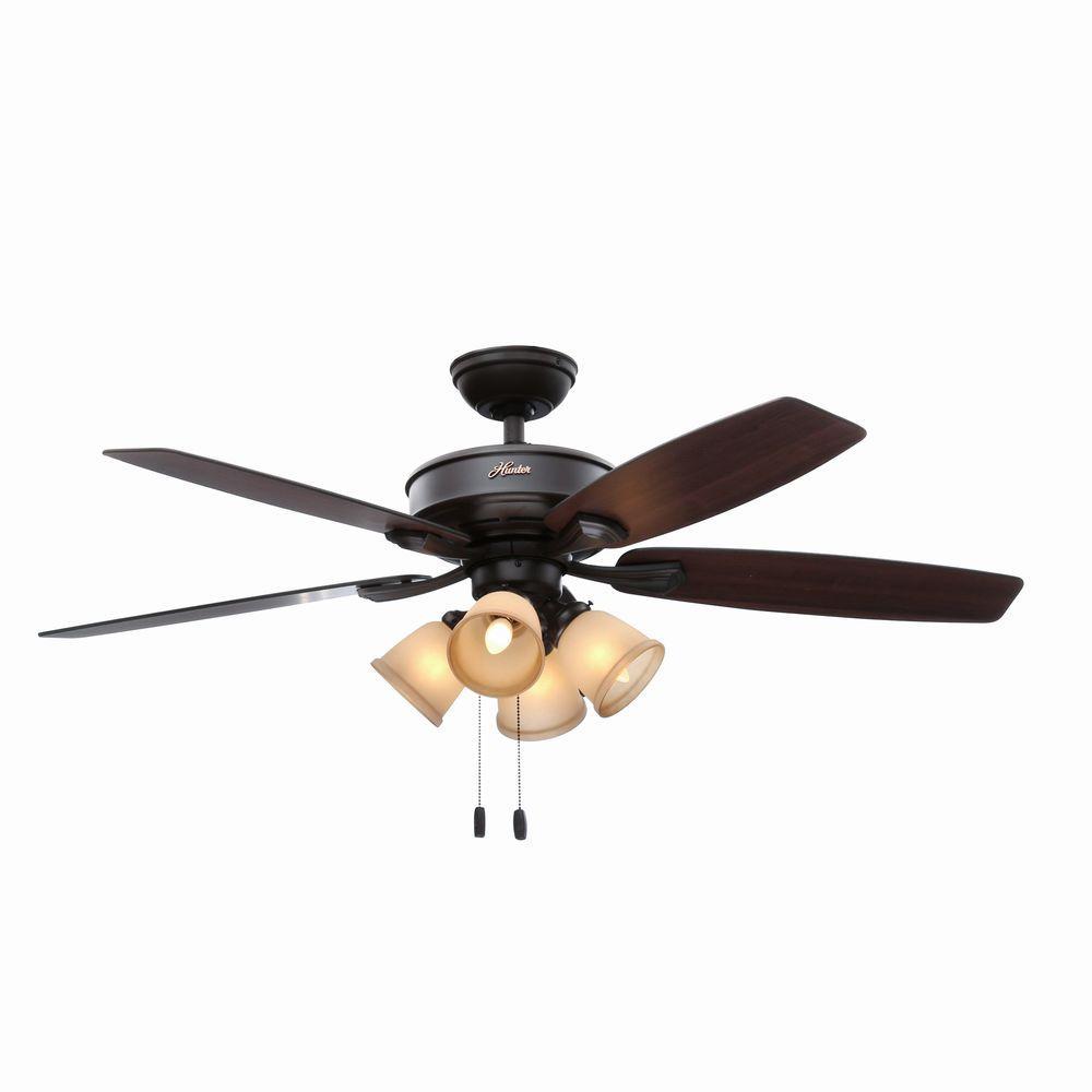 Hunter Belmor 52 inch Indoor New Bronze Ceiling Fan with Light Kit by Hunter