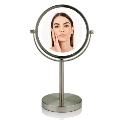 Small Nickel Brushed Lighted Tabletop Makeup Mirror (11.6 in. H x 7.1 in. W), 1x-7x Magnification