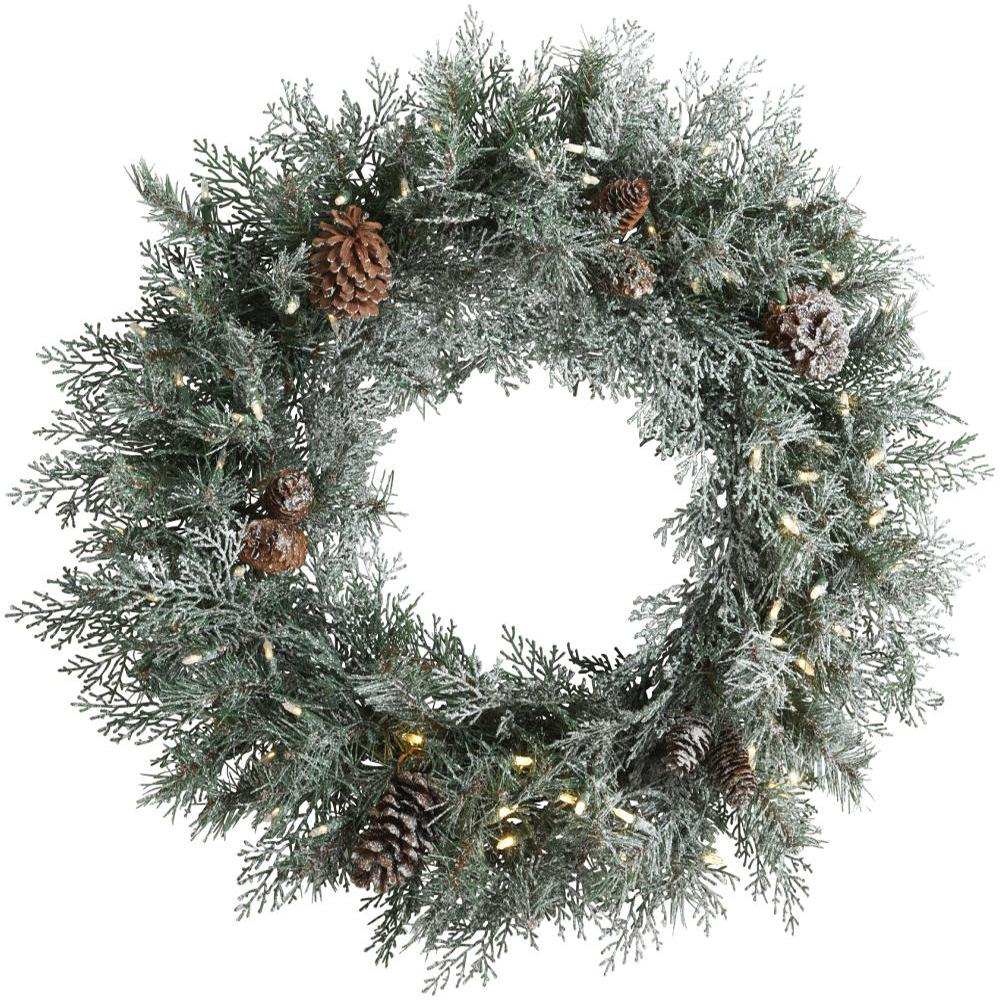 Martha Stewart Living 30 in. Pre-Lit LED Frosted Mountain Spruce Artificial Christmas Wreath
