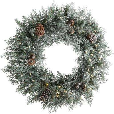 30 in. Pre-Lit LED Frosted Mountain Spruce Artificial Christmas Wreath