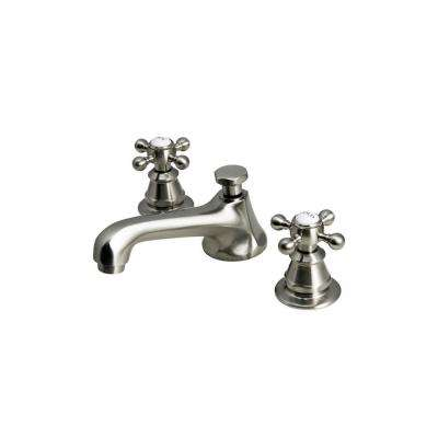 8 in. Widespread 2-Handle Century Classic Bathroom Faucet in Brushed Nickel with Pop-Up Drain